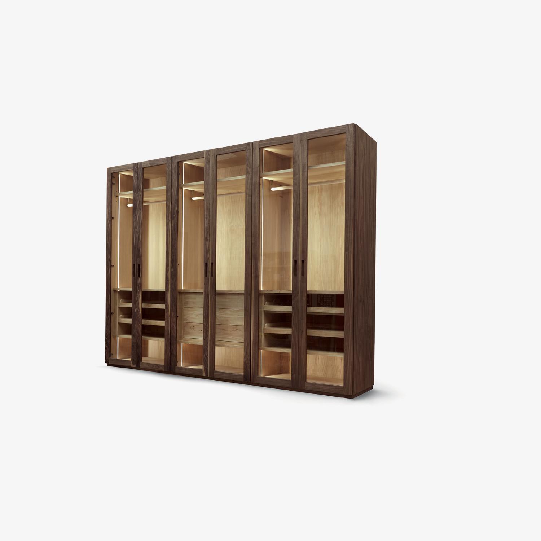 Design-Garderobe Massivholz und Tischlerplatte FOUR SEASONS GLASS | Massivholz-Schrank | Design-Schrank