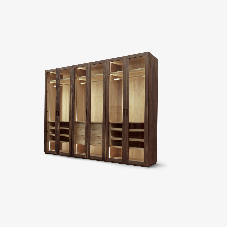 Solid wood wardrobe FOUR SEASONS GLASS | Veneered blockboard wardrobe | Modern wardrobe | Wardrobe
