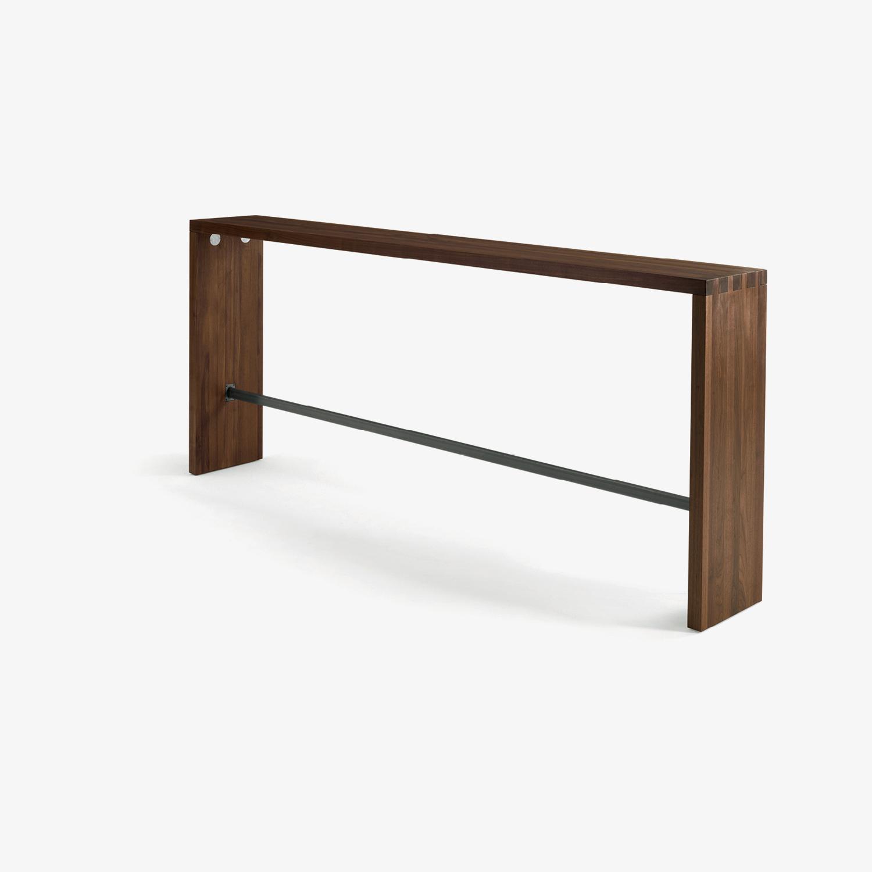 Moderner Konsolentisch mit Fußstütze | Design-Konsolentisch | Massivholz-Konsolentisch