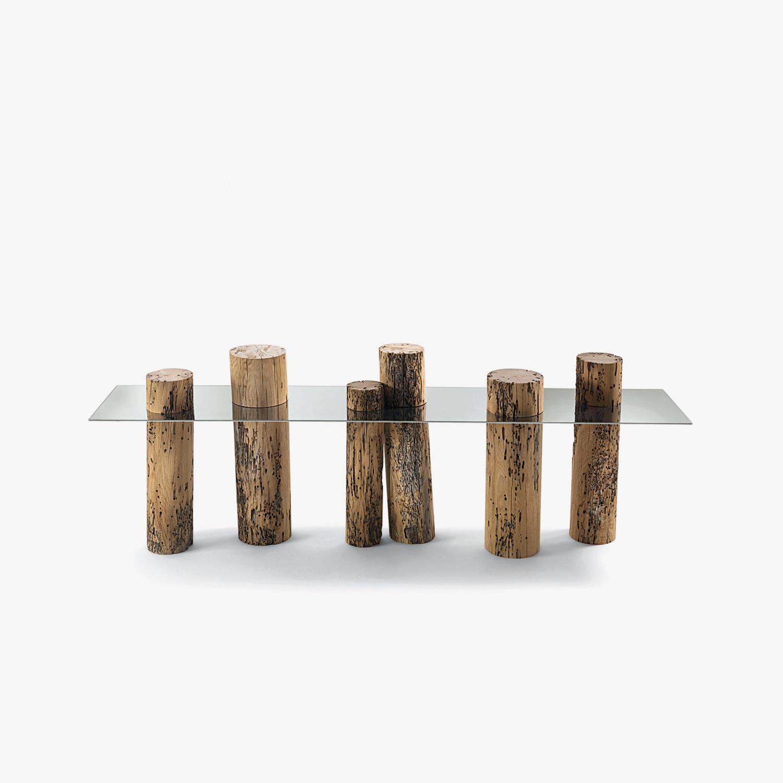 Consolle design top in acciaio lucido VENICE | Consolle legno massello briccola