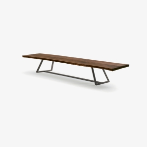 Wooden bench with iron frame CALLE CULT BENCH | Modern bench | Wooden bench for interior | Bench
