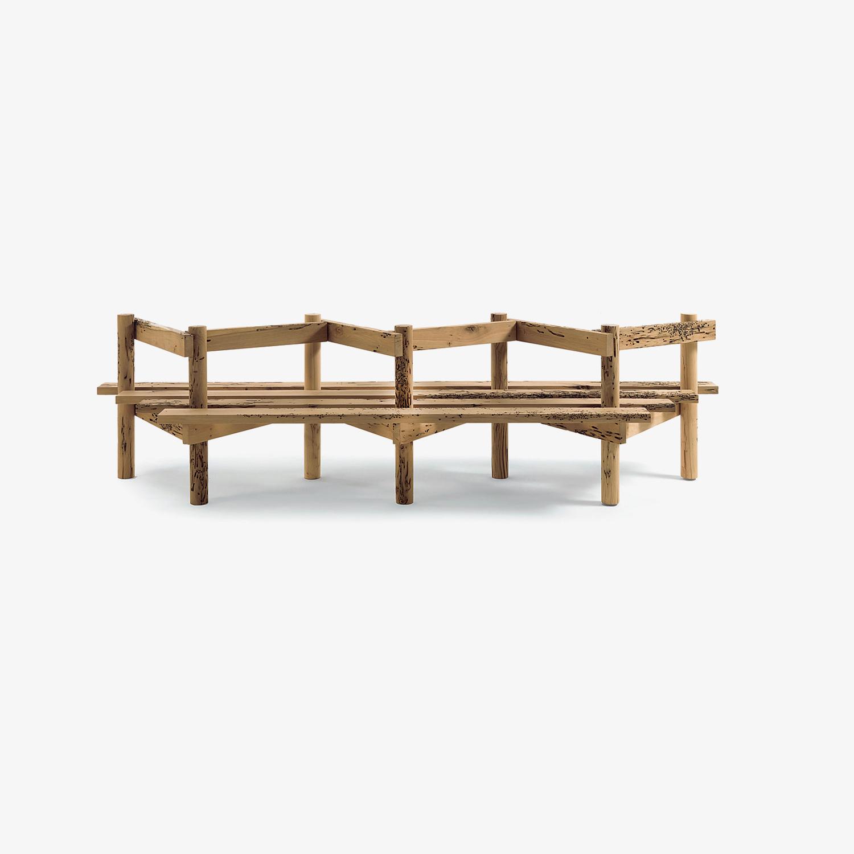 Panca in legno con schienale PALIZZATA | Panca legno per interni | Panca